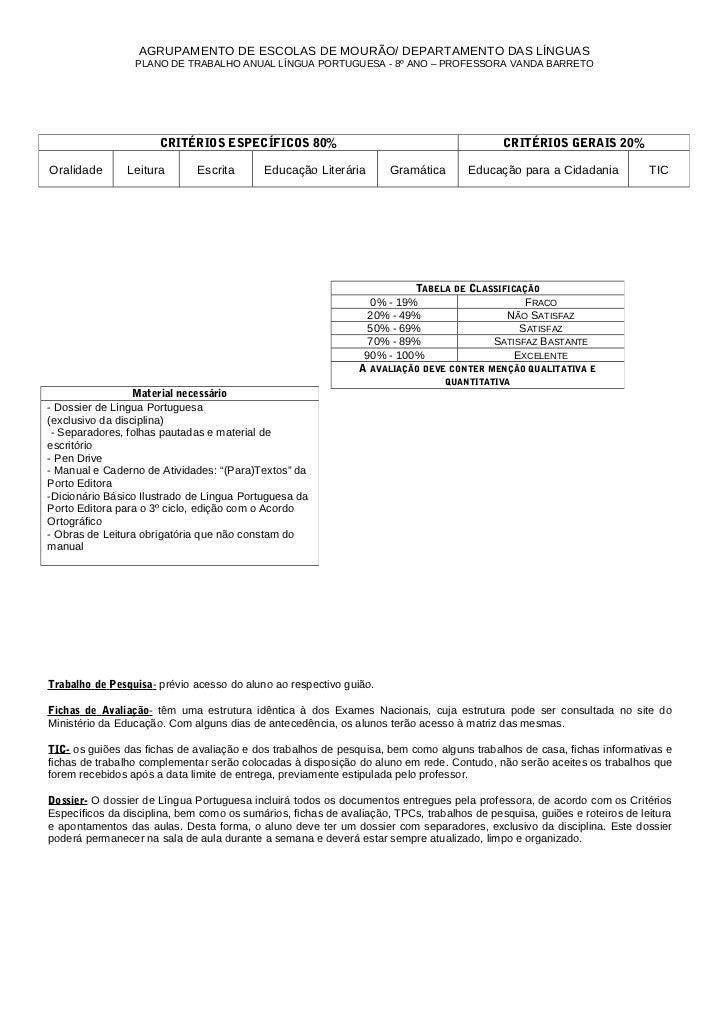 AGRUPAMENTO DE ESCOLAS DE MOURÃO/ DEPARTAMENTO DAS LÍNGUAS                 PLANO DE TRABALHO ANUAL LÍNGUA PORTUGUESA - 8º ...
