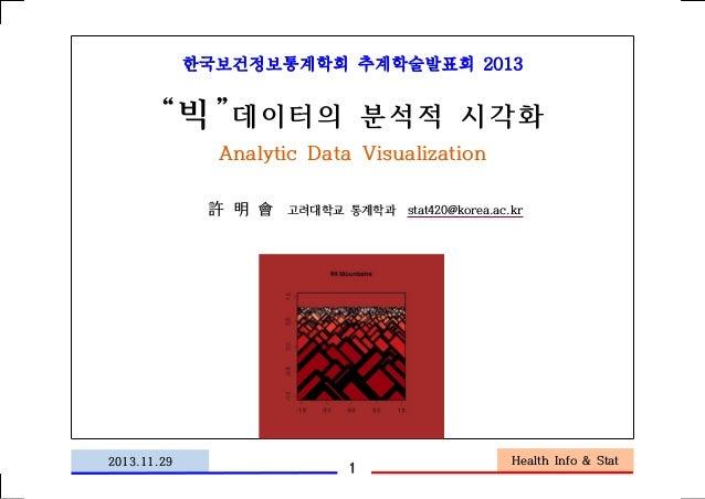 """한국보건정보통계학회 추계학술발표회 2013  """"빅"""" 데이터의 분석적 시각화 Analytic Data Visualization 許 明 會  2013.11.29  고려대학교 통계학과 stat420@korea.ac.kr  1..."""