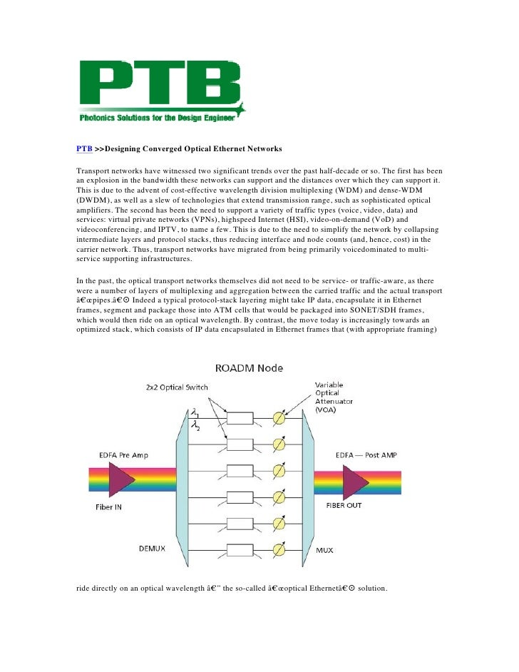PTB >>Designing Converged Optical Ethernet NetworksTransport networks have witnessed two significant trends over the past ...