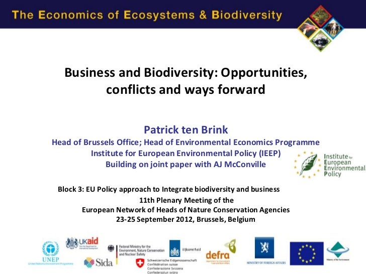 Business and Biodiversity: Opportunities,         conflicts and ways forward                         Patrick ten BrinkHead...