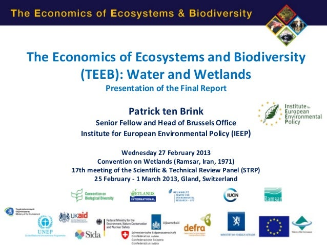The Economics of Ecosystems and Biodiversity        (TEEB): Water and Wetlands                  Presentation of the Final ...