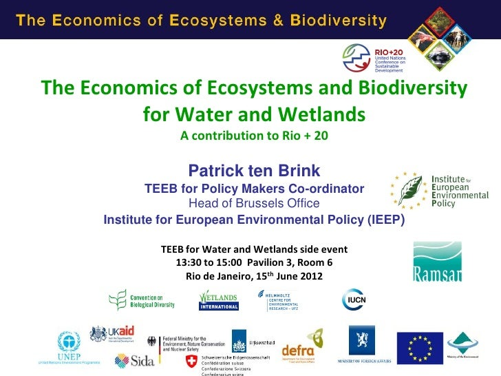 The Economics of Ecosystems and Biodiversity         for Water and Wetlands                  A contribution to Rio + 20   ...