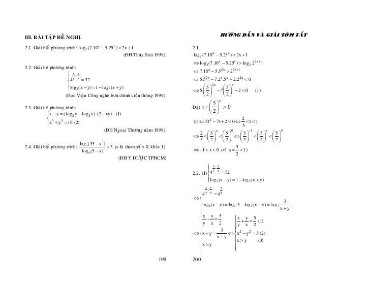 HÖÔÙNG DAÃN VAØ GIAÛI TOÙM TAÉTIII. BAØI TAÄP ÑEÀ NGHÒ.2.1. Giaûi baát phöông trình: log2 (7.10 x − 5.25x ) > 2x + 1      ...