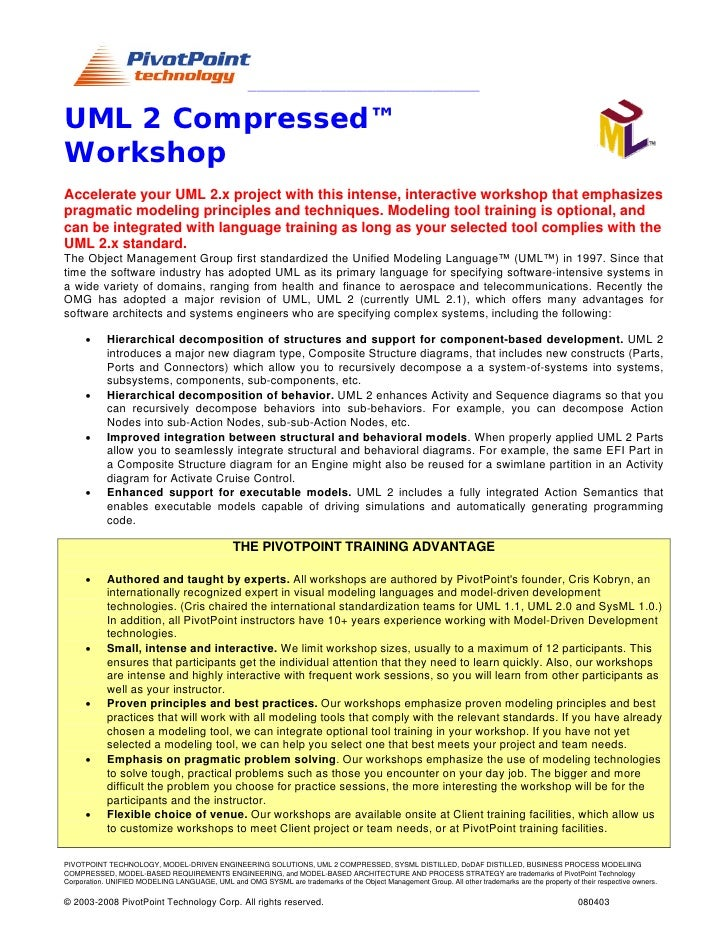 ______________________________________________________    UML 2 Compressed™ Workshop Accelerate your UML 2.x project with ...