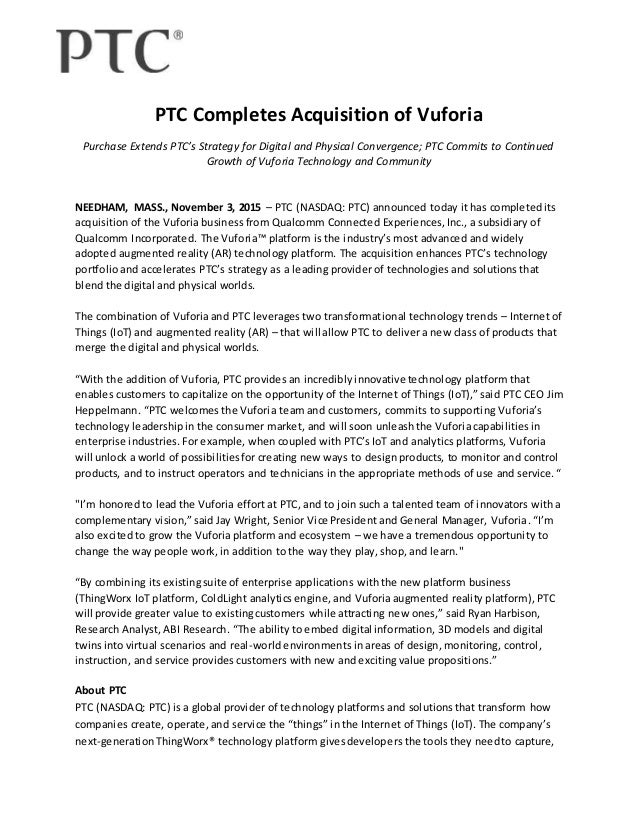 PTC Completes Acquisition of Vuforia - Press Release