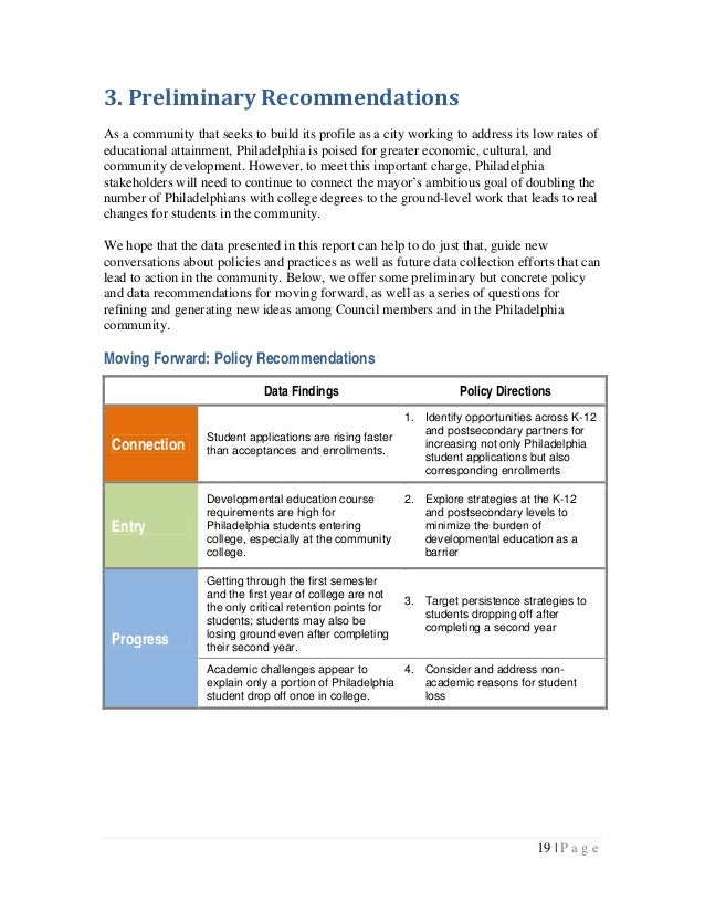 3.PreliminaryRecommendationsAs a community that seeks to build its profile as a city working to address its low rates o...