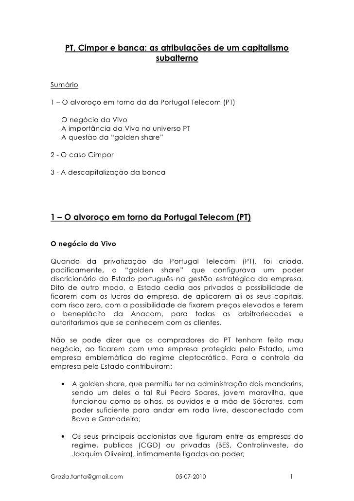 PT, Cimpor e banca: as atribulações de um capitalismo                             subalterno   Sumário  1 – O alvoroço em ...