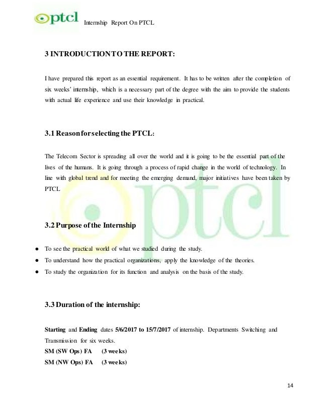 ptcl 6 weeks internship report