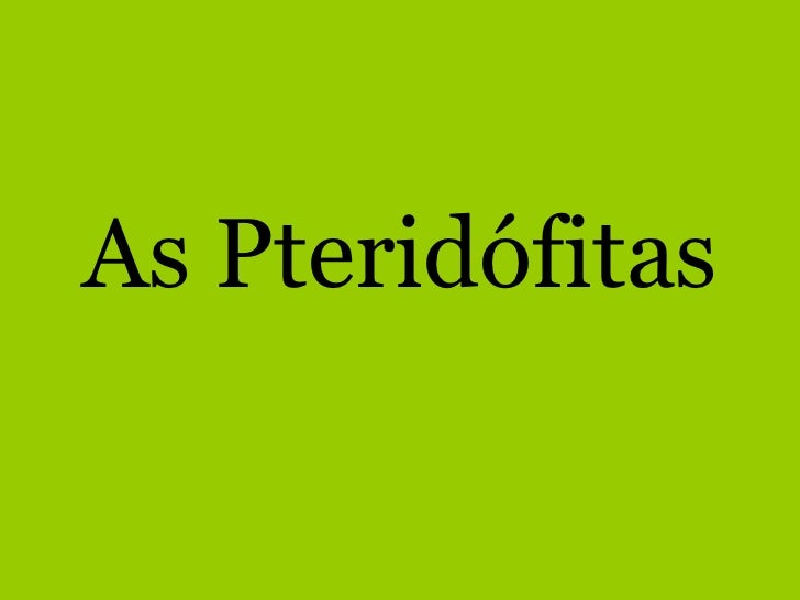 As Pteridófitas<br />