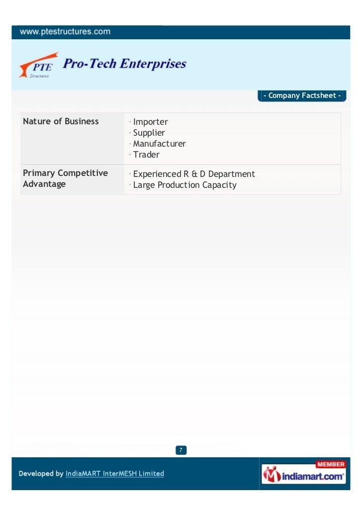 - Company Factsheet -Nature of Business    Importer                      Supplier                      Manufacturer       ...