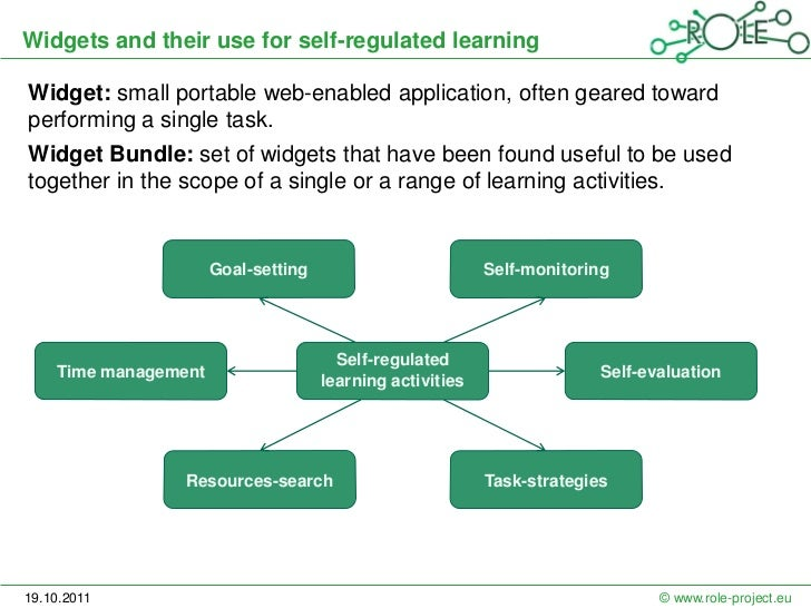 Widgets and their use for self-regulated learningWidget: small portable web-enabled application, often geared towardperfor...