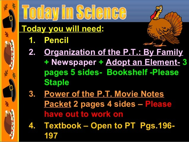 Today you will need: 1. Pencil 2. Organization of the P.T.: By Family + Newspaper + Adopt an Element- 3 pages 5 sides- Boo...