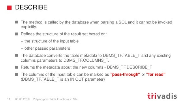 DESCRIBE Polymorphic Table Functions in 18c11 08.05.2019 The method is called by the database when parsing a SQL and it ca...