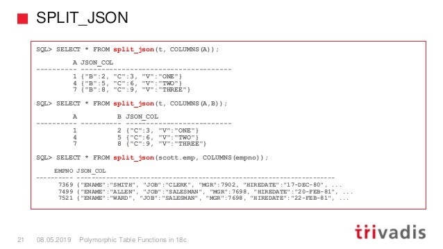 SPLIT_JSON Polymorphic Table Functions in 18c21 08.05.2019 SQL> SELECT * FROM split_json(t, COLUMNS(A)); A JSON_COL ------...