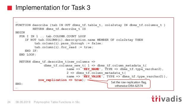 Implementation for Task 3 Polymorphic Table Functions in 18c24 08.05.2019 … FUNCTION describe (tab IN OUT dbms_tf.table_t,...