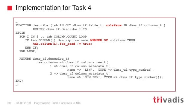 Implementation for Task 4 Polymorphic Table Functions in 18c30 08.05.2019 … FUNCTION describe (tab IN OUT dbms_tf.table_t,...