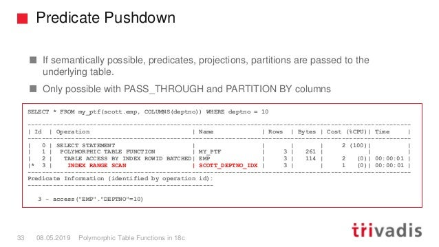 Predicate Pushdown Polymorphic Table Functions in 18c33 08.05.2019 If semantically possible, predicates, projections, part...