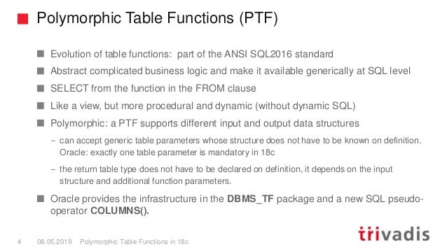 Polymorphic Table Functions (PTF) Polymorphic Table Functions in 18c4 08.05.2019 Evolution of table functions: part of the...