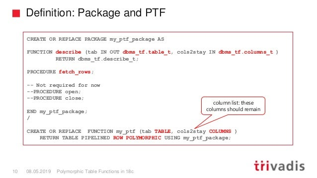 Definition: Package and PTF Polymorphic Table Functions in 18c10 08.05.2019 CREATE OR REPLACE PACKAGE my_ptf_package AS FU...