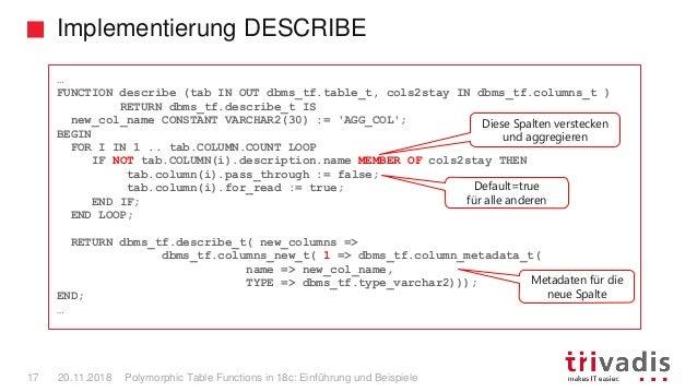 Implementierung DESCRIBE Polymorphic Table Functions in 18c: Einführung und Beispiele17 20.11.2018 … FUNCTION describe (ta...