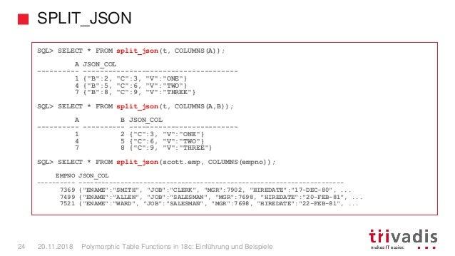 SPLIT_JSON Polymorphic Table Functions in 18c: Einführung und Beispiele24 20.11.2018 SQL> SELECT * FROM split_json(t, COLU...