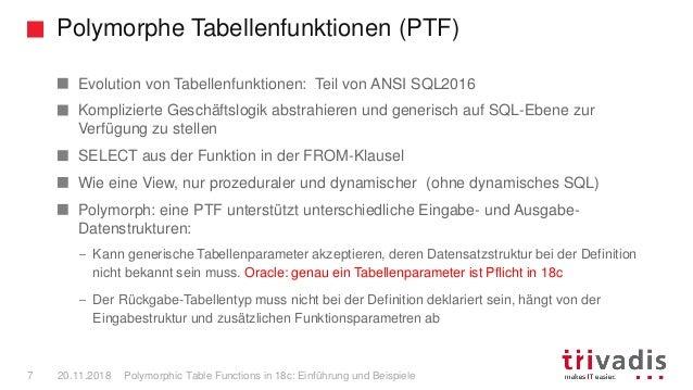 Polymorphe Tabellenfunktionen (PTF) Polymorphic Table Functions in 18c: Einführung und Beispiele7 20.11.2018 Evolution von...