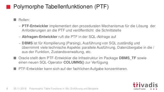 Polymorphe Tabellenfunktionen (PTF) Polymorphic Table Functions in 18c: Einführung und Beispiele8 20.11.2018 Rollen: – PTF...