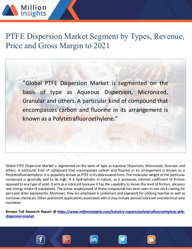 PTFE Dispersion Market Share by Application 2021