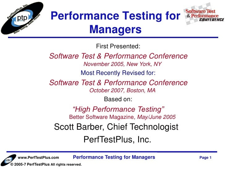 Performance Testing for                              Managers                                                 First Presen...