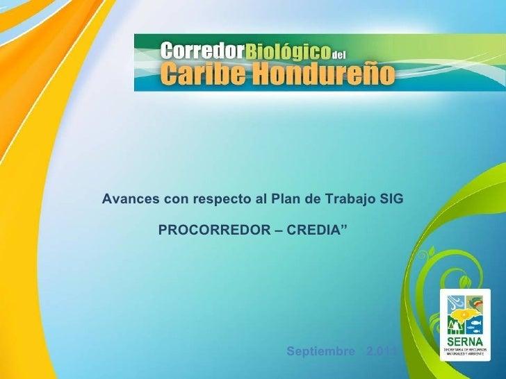 """Septiembre   2.011 Avances con respecto al Plan de Trabajo SIG PROCORREDOR – CREDIA"""""""