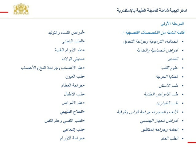 باإلسكندرية الطبية للمدينة شاملة استراتيجية المرحلةاألولى من شاملة قائمةالتفصيلية التخصصات: •التج...