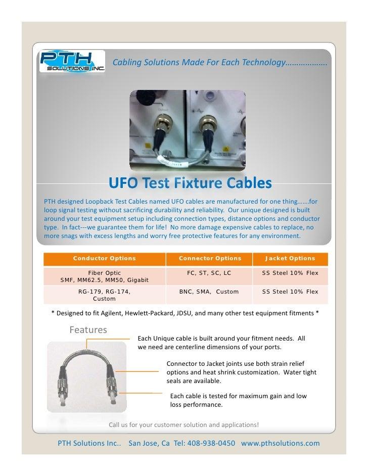 CablingSolutionsMadeForEachTechnology……………….                      UFO Test Fixture Cables                      UFOTe...