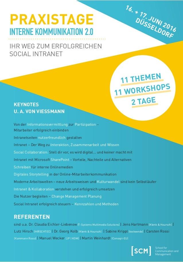 VERANSTALTER SCM Lehmbruckstraße 24 10245 Berlin info@scmonline.de www.scmonline.de METHODE: Keynotes von Referenten renom...