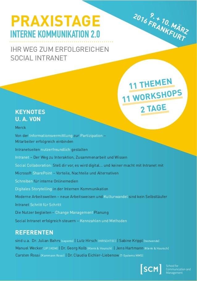 VERANSTALTER SCM info@scmonline.de Lehmbruckstraße 24 www.scmonline.de 10245 Berlin Vor allem haben die Praxistage mir gez...