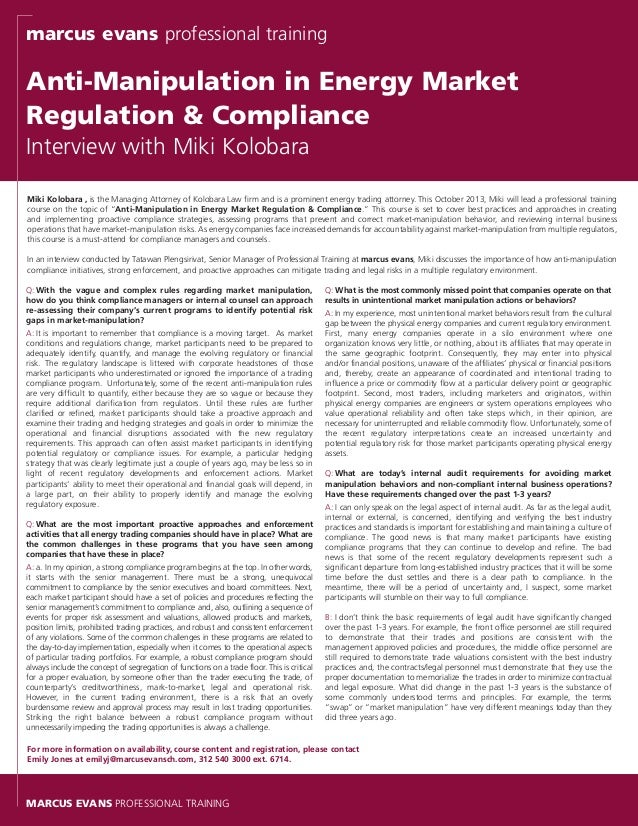 An interview on anti manipulation compliance in energy trading with m - Compliance officer interview ...