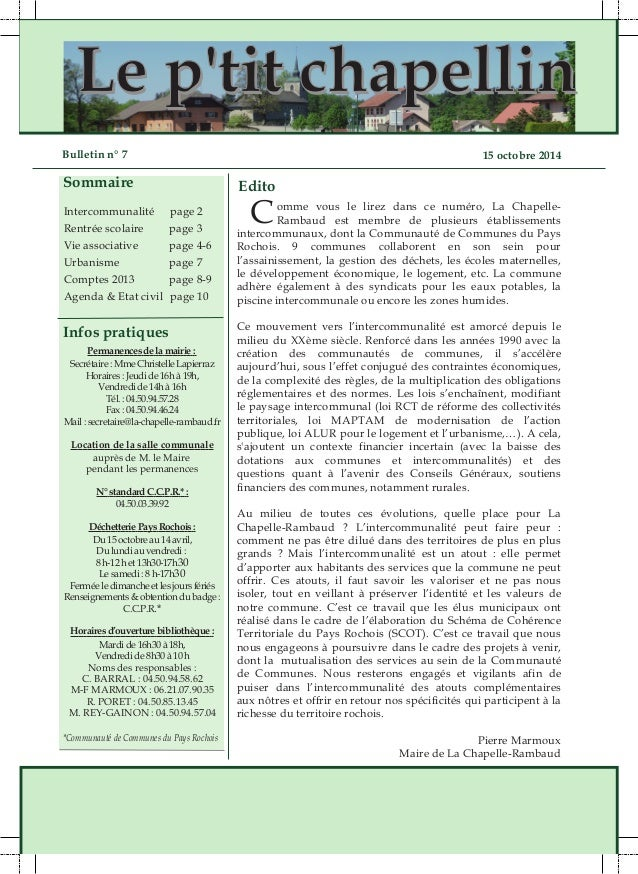 LLee pp''ttiitt cchhaappeelllliinn  Bulletin n° 7 15 octobre 2014  Sommaire  Intercommunalité page 2  Rentrée scolaire pag...