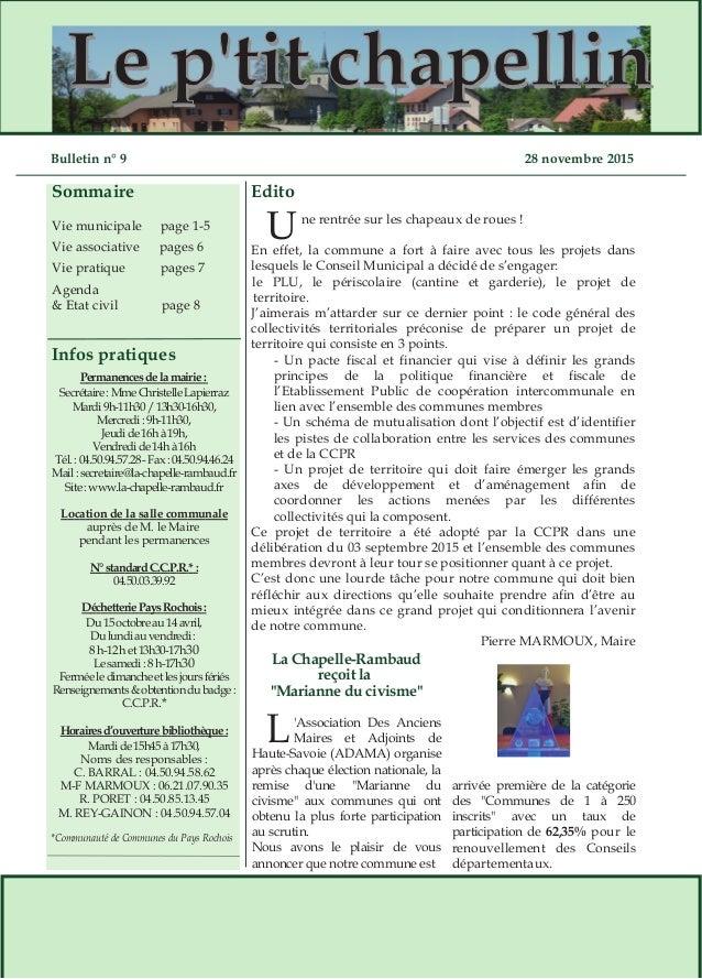 Sommaire Infos pratiques LLee pp''ttiitt cchhaappeelllliinn Edito Permanencesdelamairie: Secrétaire:MmeChristelleLapierraz...
