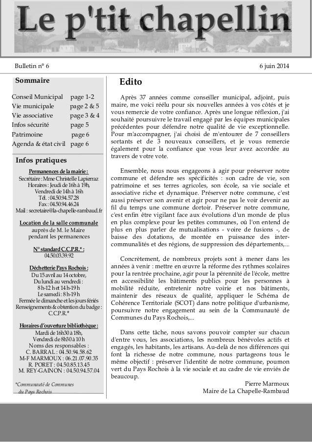 LLee pp''ttiitt cchhaappeelllliinn  Bulletin n° 6 6 juin 2014  Sommaire  Conseil Municipal page 12  Vie municipale page 2...