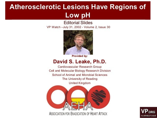 Atherosclerotic Lesions Have Regions of Low pH Editorial Slides VP Watch –July 31, 2002 - Volume 2, Issue 30 Provided by: ...