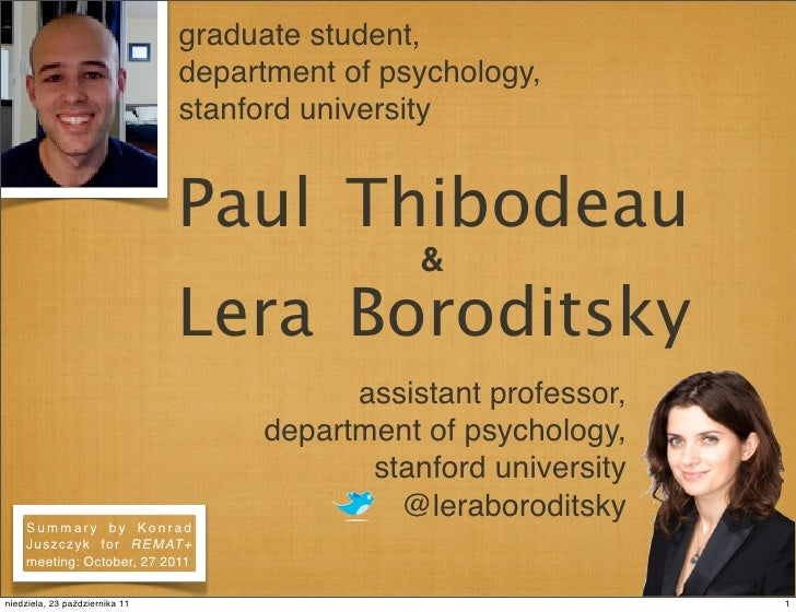 graduate student,                                department of psychology,                                stanford univers...