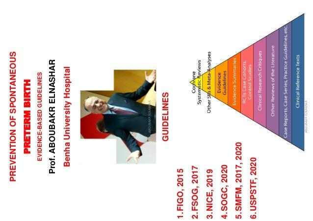 PREVENTIONOFSPONTANEOUS PRETERMBIRTH EVIDENCE-BASEDGUIDELINES Prof.ABOUBAKRELNASHAR BenhaUniversityHospital ABOUBAKRELNASH...