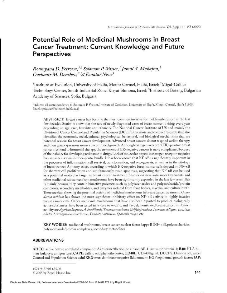 [nternt/ionul.lournu/ of'Mtrlitina/ Mushroon:, Vol. 7, pp. 1'+1-155 (2005)                       Potential Role of Medicin...