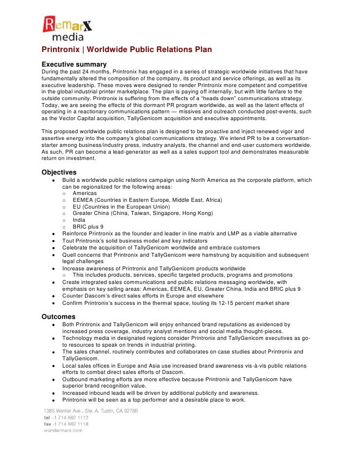 Printronix worldwide public relations plan for Public relations agreement template