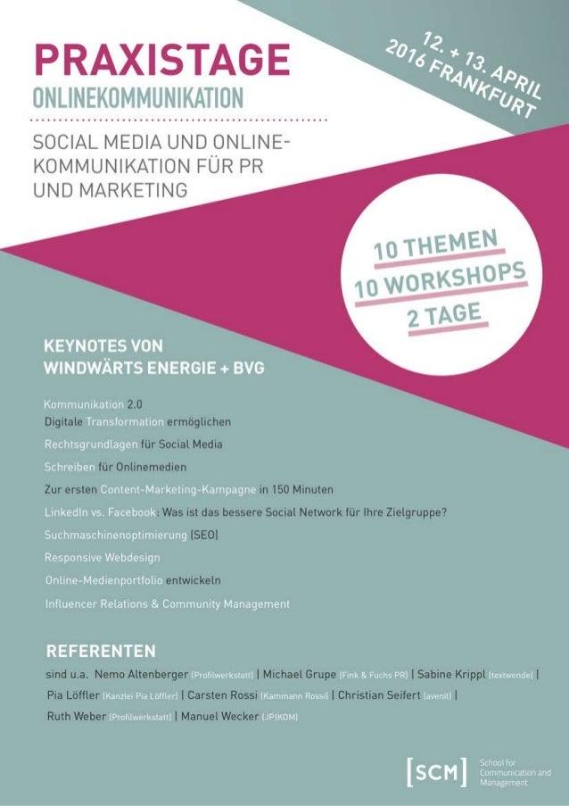 Broschüre Praxistage Onlinekommunikation 4/16