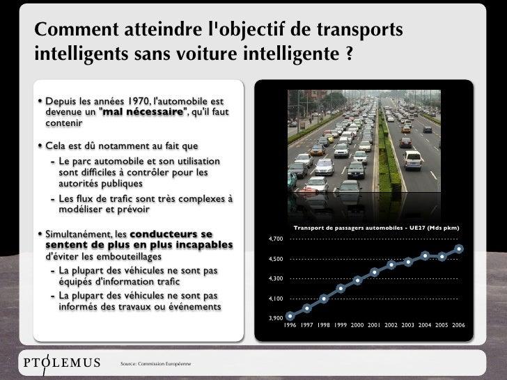 Comment atteindre l'objectif de transports  intelligents sans voiture intelligente ?   • Depuis les années 1970, l'automob...