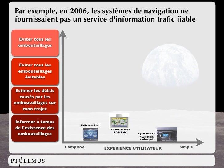 Par exemple, en 2006, les systèmes de navigation ne fournissaient pas un service d'information trafic fiable    Eviter tous ...