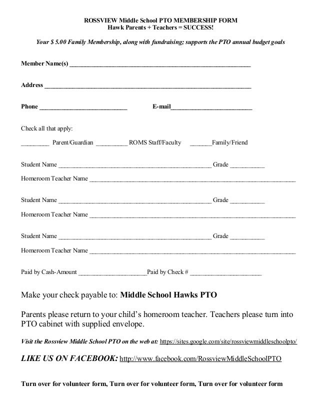 ROSSVIEW Middle School PTO MEMBERSHIP FORM Hawk Parents + Teachers = SUCCESS! Your $ 5.00 Family Membership, along with fu...