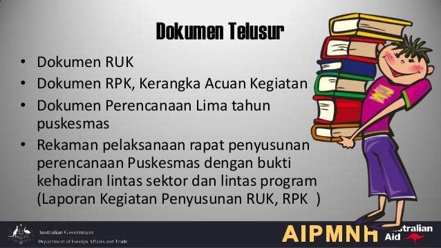 Dokumen Telusur • Dokumen RUK • Dokumen RPK, Kerangka Acuan Kegiatan • Dokumen Perencanaan Lima tahun puskesmas • Rekaman ...