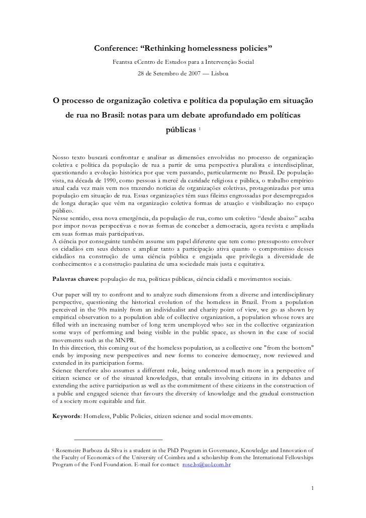 """Conference: """"Rethinking homelessness policies""""                        Feantsa eCentro de Estudos para a Intervenção Social..."""