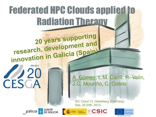 Federated HPC Clouds applied to Radiation Therapy A. Gómez, L.M. Carril, R. Valin, J.C. Mouriño, C. Cotelo ISC Cloud'13, H...